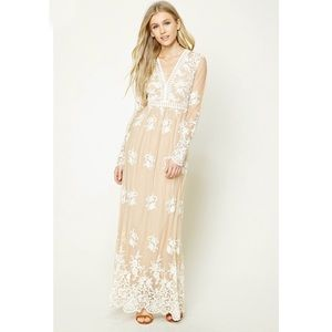 Forever 21 embroidered lace maxi dress